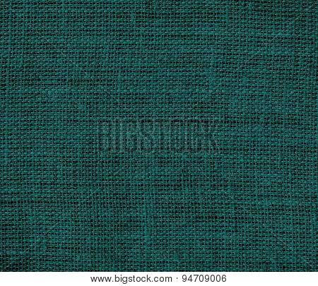 Deep jungle green burlap texture background