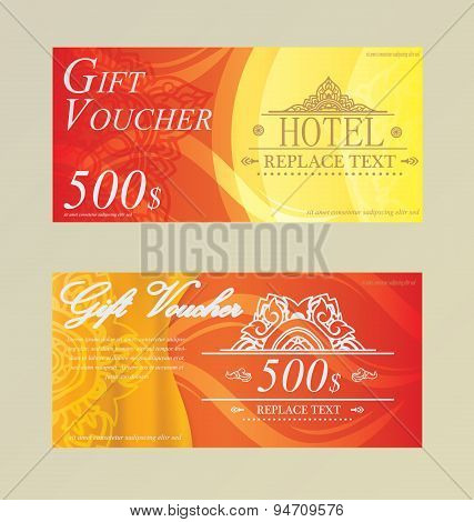 Gift Certificate Voucher Coupon Card Hotel,restaurant  Thai