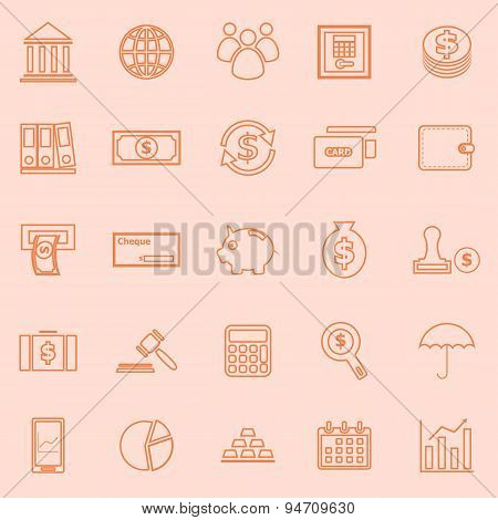 Banking Line Icons On Orange Background