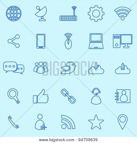 Network Line Icons On Blue Background