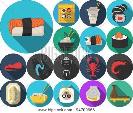Colored vector icons for japanese restaurant menu