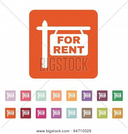 The For Rent Icon. Rent Symbol. Flat