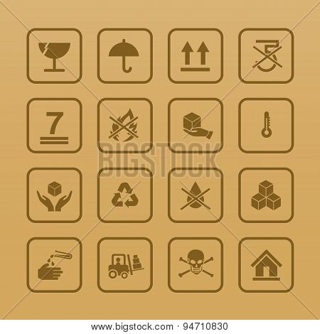 Set Of Packing Symbols Icon For Box On Cardboard Color Background Vector Illustration
