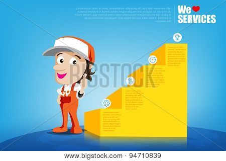 Smile And Thumb Up Mechanic Man Cartoon For Design Template, Infographic, Brochure, Flyer Vector Ill