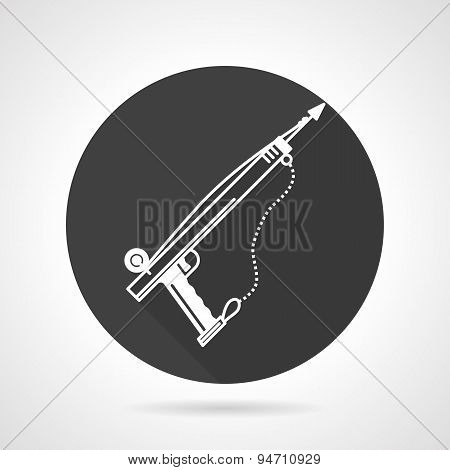 Harpoon black round vector icon