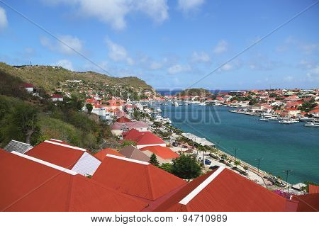 Aerial view at Gustavia Harbor in St Barts
