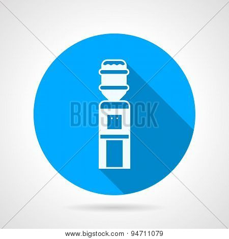 Water dispenser flat blue round vector icon