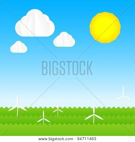 Ecology Concept Abstract Background With Sun Cloud Sky Wind Turbine Grass Element Vector Illustratio