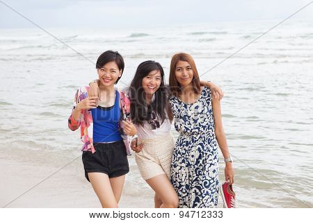 Portrait Of Young Beautifu Asian Woman Friend Relaxing Happy Emotion On Sea Beach Vacation Holiday
