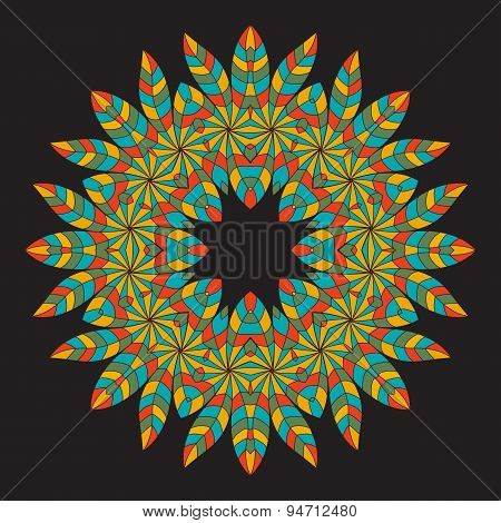 Colorful Ethnicity Round Ornament On The Black Background . Circular Ornament In Ethnic American Ind