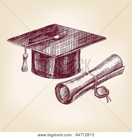 graduation cap and diploma hand drawn vector llustration