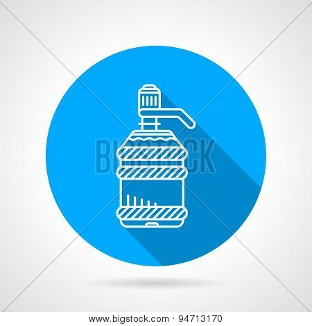 Water cooler bottle blue round vector icon
