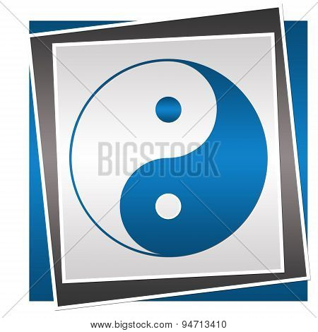 Yin Yang Symbol Blue Grey Block