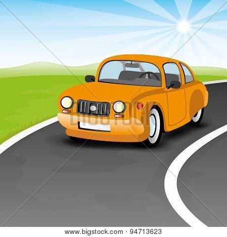 Orange car.