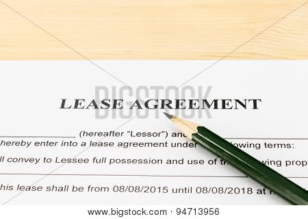 Lease Agreement Contract Document And Pencil Horizontal View