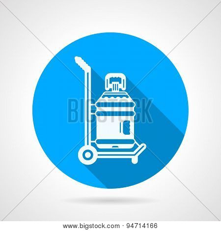 Water delivering blue round vector icon