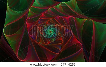 background with a spiral fractal bright flower with loops