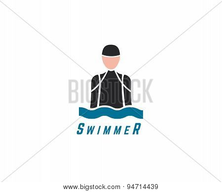 Abstract vector element.s Swim, sport, dive club or triatlon logo template. Stock illustration for d