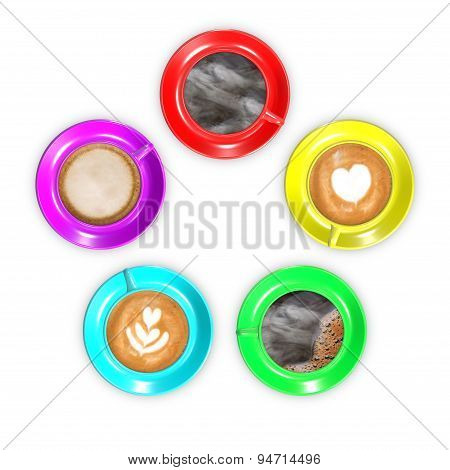 Five coffee cups arranged in circle.