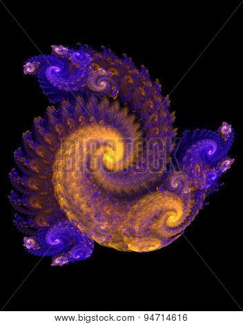 fractal  volume spiral on a black background