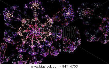 fractal  fireworks over a black background