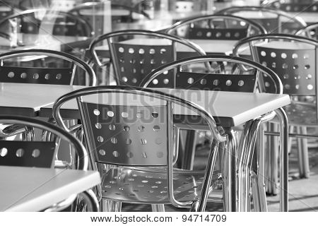 Restaurant Metallic Chairs Group Outdoors In Black And White