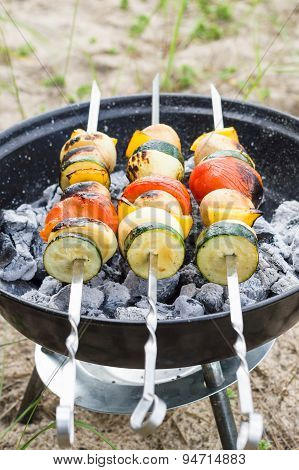 Vegan Shish Kebab On Skewer. Fresh Vegetables Prepared On A Grill Charcoal, Outdoors.