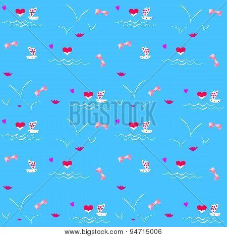 Seamless romantic background vector illustration
