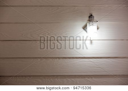 Fluorescent tube on Artificial wood