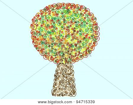 Colorful Tree pattern spiral decorative foliage