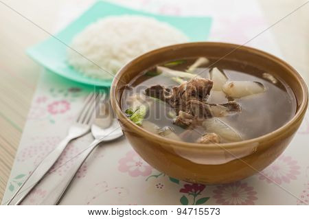 Soup Made From Herb With Rice, Healthy Food