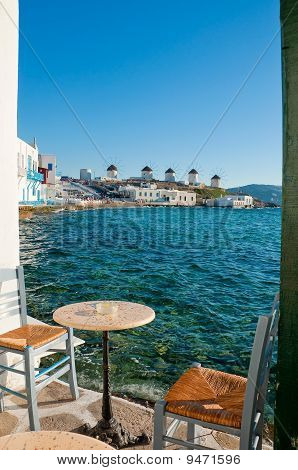 View Of The Famous Windmills Of Mykonos Island Of The Cafe At Little Venice ... Greece.