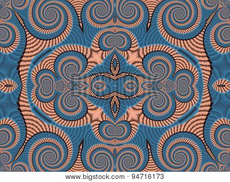 Symmetrical Textured Background With Spirals. Blue And Pink Palette.