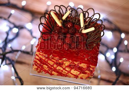 Red Cake With Forest Fruits