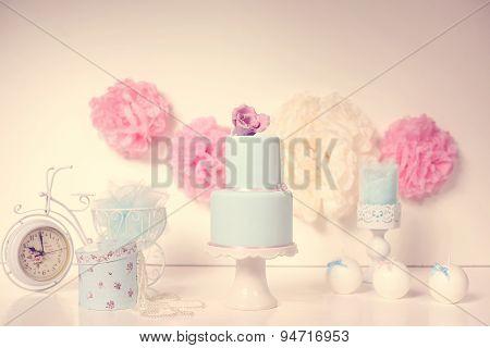 Blue Cake On A Fancy Decor