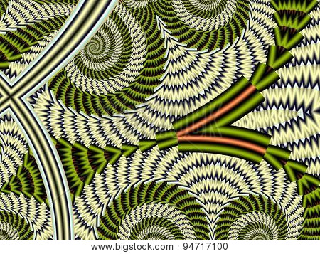 Spiral Textured Background. Gray And Green Palette. Computer Graphics.