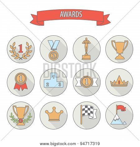 Set Of White Vector Award Success And Victory Flat Icons On Colorful Round Web Buttons With Trophies