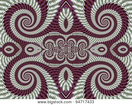 Symmetrical Textured Background With Spirals. Gray And Vinous Palette. Computer Generated Graphics.