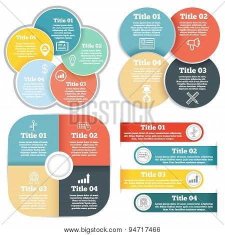 Set of business circle infographic, diagram, presentation four and five steps