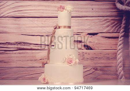 4Tier Marzipan Wedding Cake