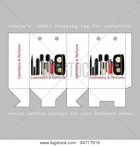 template  small shopping bag for cosmetics