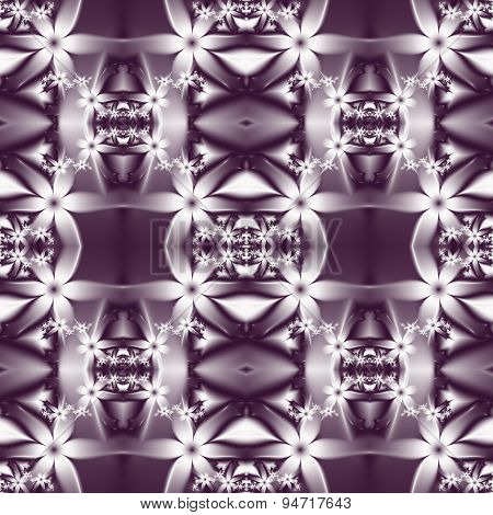 Flower Pattern In Fractal Design. Violet And White Palette. Computer Graphics.