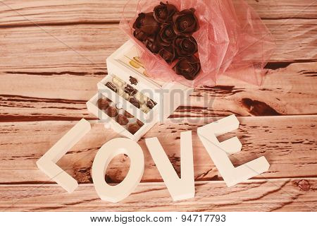 Mini Chocolate Sweets And Love Letters