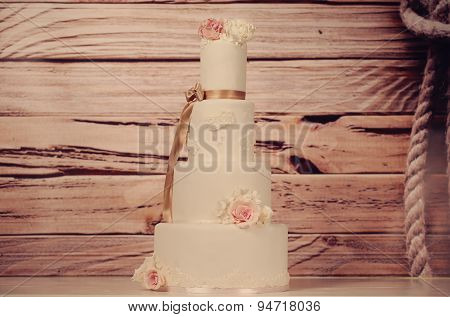Marzipan Wedding Cake With Roses