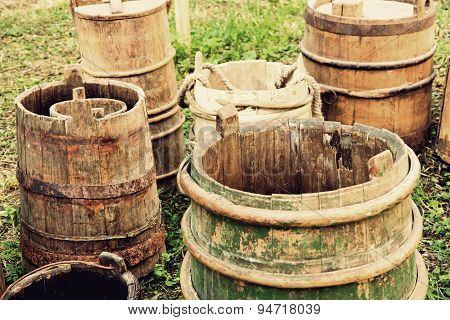 Old Wooden Buckets And Barrels.