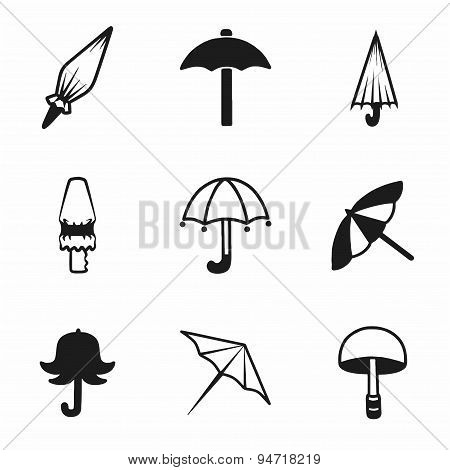 Vector umbrella icon set