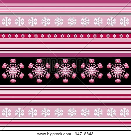 Winter Seamless Pattern - Striped With Snowflake Motif In Blue