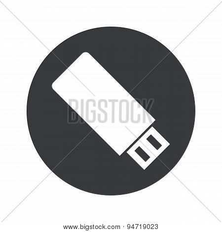 Monochrome round USB stick icon
