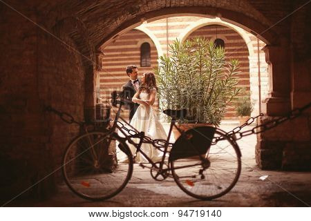 Bride And Groom Near Bicycle