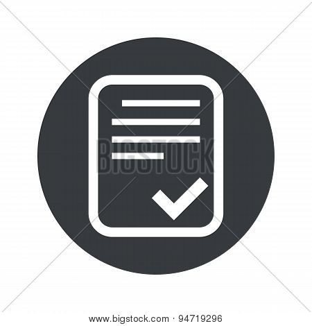 Monochrome round approved document icon